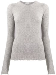 Vince Ribbed Knit Sweater Grey