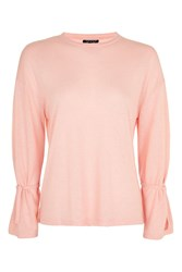 Topshop Long Sleeve Sloppy T Shirt Peach
