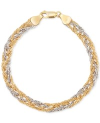 Macy's Two Tone Braided Chain Bracelet In 14K Yellow And White Gold Two Tone