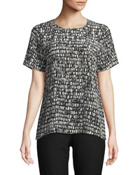Eileen Fisher Short Sleeve Black Bone Print Top Pebble
