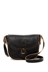 T Shirt And Jeans Whipstitched Faux Leather Crossbody Black
