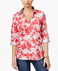 Tommy Hilfiger Floral Print Shirt Rouge Red
