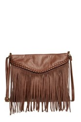 T Shirt And Jeans Fringe And Braid Crossbody Brown