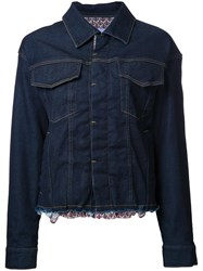 Katharine Hamnett Raw Hem Denim Jacket Blue