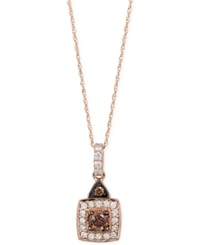 Le Vian Chocolatier Chocolate And White Diamond Pendant Necklace 1 2 Ct. T.W. In 14K Rose Gold