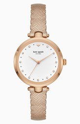 Kate Spade Women's New York Crystal Accent Scallop Holland Leather Strap Watch 34Mm Rose Gold White Rose Gold