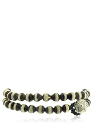 Luis Morais Double Wrap Mantra Beaded Bracelet Black White