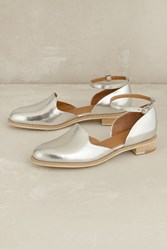 All Black Madelyn Ankle Strap Flats Silver