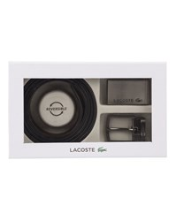 Lacoste Black And Brown Double Buckle Reversible Belt Set