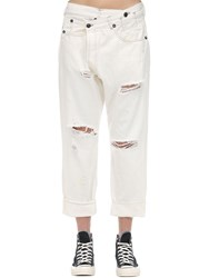 R 13 Crossover Distressed Cotton Denim Jeans Ivory
