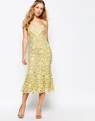Jarlo Plunge Neck Midi Dress In All Over Lace Yellow