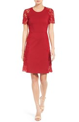 Tahari Women's Elie Hudson Lace Applique Fit And Flare Dress