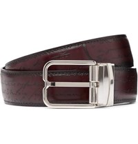 Berluti 3.2Cm Scritto Reversible Leather Belt Black