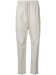 Rick Owens Track Style Tailored Trousers Neutrals