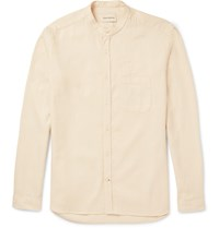 Oliver Spencer Slim Fit Grandad Collar Waffle Knit Cotton And Linen Blend Shirt Neutrals
