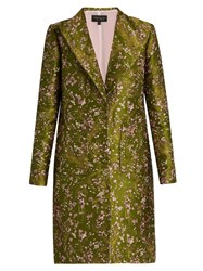 Giambattista Valli Floral Jacquard Single Breasted Coat Green Multi