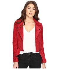 Blank Nyc Red Suede Moto Jacket In Red Moon Red Moon Women's Coat