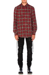 Amiri Laced Plaid Shirt In Red Checkered And Plaid Red Checkered And Plaid