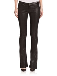 Rag And Bone Mid Rise Leather Flared Jeans Washed Black