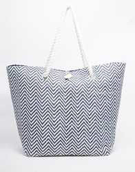 South Beach Large Straw Bag With Chevron Print Navy