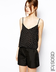 Asos Tall Exclusive Printed Cami In Spot Print Blackwhite