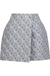 Thom Browne Floral Print Jacquard Mini Wrap Skirt Multi