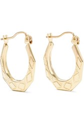 Loren Stewart Party Deco Embossed 14 Karat Gold Hoops