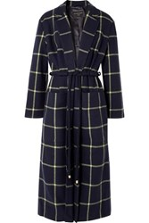 Mother Of Pearl Anya Checked Wool Blend Coat Navy
