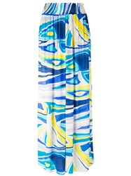 Emilio Pucci Printed Maxi Skirt Women Silk Viscose 44 Blue
