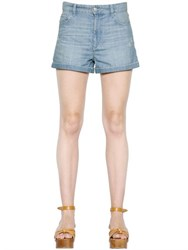 Etoile Isabel Marant Distressed Cotton Denim Shorts