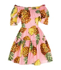 Dolce And Gabbana Pineapple Print Ruffled Off The Shoulder Dress Female Pink