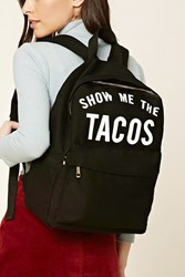 Forever 21 Show Me The Tacos Backpack Black White