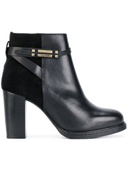 Tommy Hilfiger Panelled Ankle Boots Cotton Calf Leather Leather Rubber Black