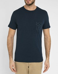 Selected Navy Jonas T Shirt With Triangle Pattern Front Pocket