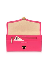 Aspinal Of London Neon Pink Leather Manhattan Travel Wallet