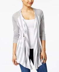 G.H. Bass And Co. Striped Open Front Cardigan Heather Grey Dusk Combo
