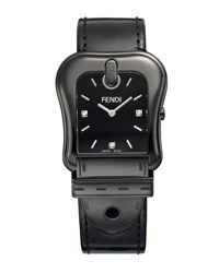 Fendi 43Mm B. Diamond Buckle Watch With Leather Strap Black