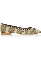 M Missoni Leather And Metallic Crochet Knit Point Toe Flats Nude
