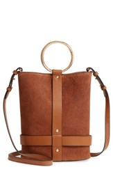 Vince Camuto Ashbe Leather Bucket Bag Brown Dark Rum