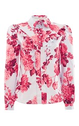 Francesco Scognamiglio Long Sleeve Floral Ruffle Button Down Shirt Pink