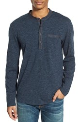 Men's Lucky Brand Knit Pocket Long Sleeve Henley Heather Navy