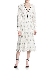 Yigal Azrouel Palm Leaf Print V Neck Gown Optic Multi