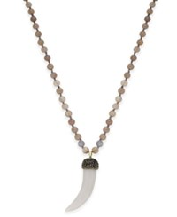 Paul And Pitu Naturally Gold Tone Gray Beaded Horn Pendant Necklace