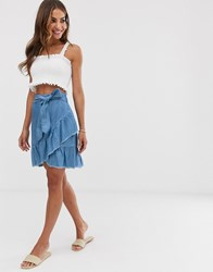 B.Young Ruffle Wrap Skirt Blue