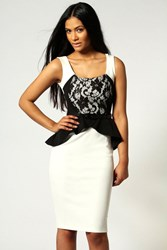 Boohoo Lace Detail Peplum Midi Dress Ivory