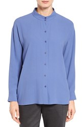 Eileen Fisher Women's Silk Georgette Crepe Stand Collar Blouse Periwinkle