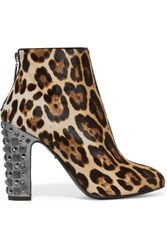 Dolce And Gabbana Embellished Leopard Print Calf Hair Boots Leopard Print
