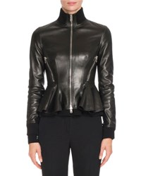 Givenchy Leather Peplum Jacket W Knit Trim Black