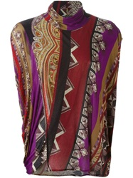 Etro Printed Turtle Neck Sweater Pink And Purple