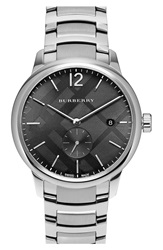 Burberry Check Stamped Bracelet Watch 40Mm Silver Black